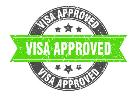 visa approved round stamp with ribbon. sign. label