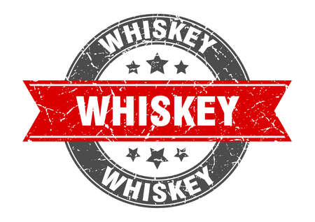 whiskey round stamp with ribbon. sign. label
