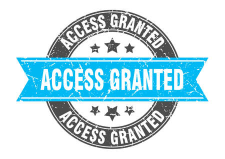 access granted round stamp with ribbon. sign. label