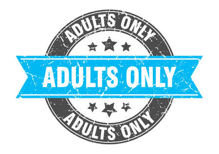 adults only round stamp with ribbon. sign. label
