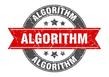 algorithm round stamp with ribbon. sign. label Иллюстрация