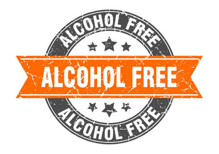 alcohol free round stamp with ribbon. sign. label
