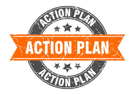 action plan round stamp with ribbon. sign. label Иллюстрация