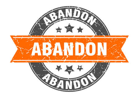 abandon round stamp with ribbon. sign. label
