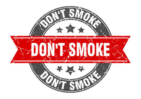 don't smoke round stamp with ribbon. sign. label