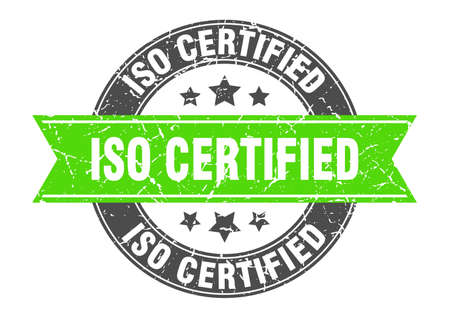 iso certified round stamp with ribbon. sign. label Illustration