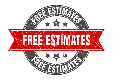 free estimates round stamp with ribbon. sign. label Vettoriali