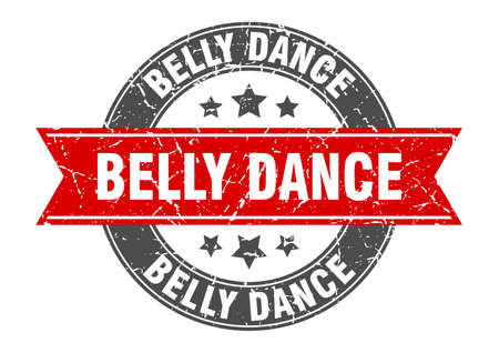 belly dance round stamp with ribbon. sign. label