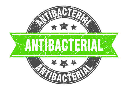 antibacterial round stamp with ribbon. sign. label Vettoriali