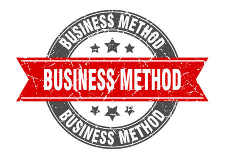 business method round stamp with ribbon. sign. label