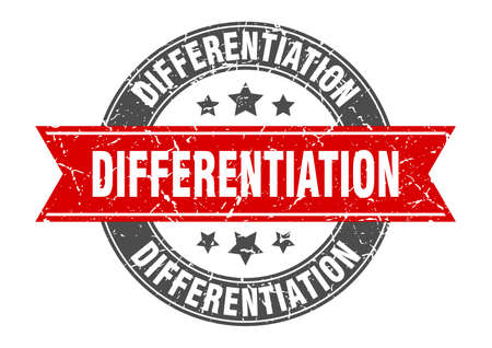 differentiation round stamp with ribbon. sign. label Stock Illustratie