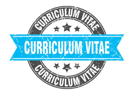curriculum vitae round stamp with ribbon. sign. label
