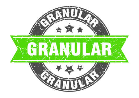 granular round stamp with ribbon. sign. label