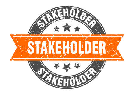 stakeholder round stamp with ribbon. sign. label