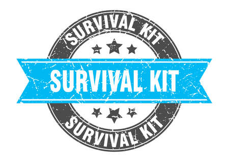 survival kit round stamp with ribbon. sign. label Vettoriali