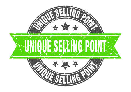 unique selling point round stamp with ribbon. sign. label Ilustración de vector