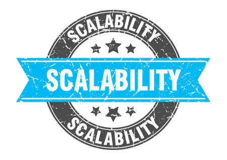 scalability round stamp with ribbon. sign. label