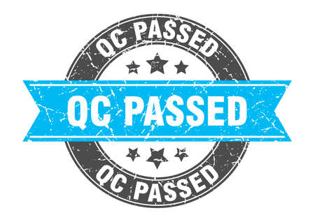 qc passed round stamp with ribbon. sign. label Illustration