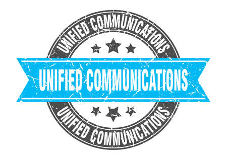 unified communications round stamp with ribbon. sign. label Çizim