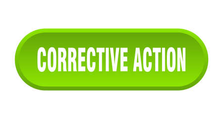 corrective action button. rounded sign isolated on white background