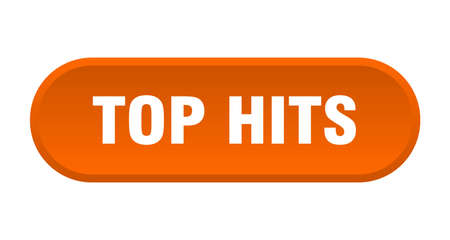 top hits button. rounded sign isolated on white background Vectores