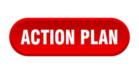 action plan button. rounded sign isolated on white background
