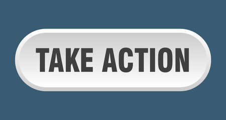 take action button. rounded sign isolated on white background