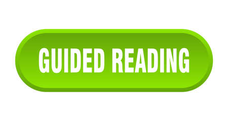 guided reading button. rounded sign isolated on white background