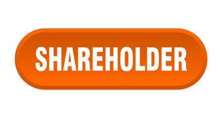 shareholder button. rounded sign isolated on white background