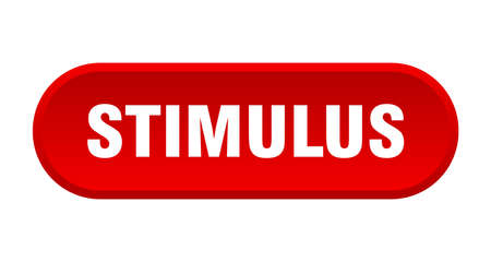 stimulus button. rounded sign isolated on white background