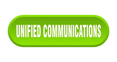 unified communications button. rounded sign isolated on white background