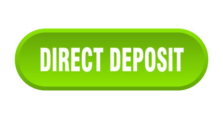 direct deposit button. rounded sign isolated on white background Vettoriali