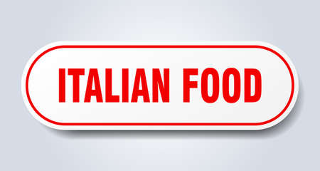 italian food sign. rounded isolated sticker. white button