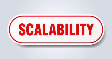 scalability sign. rounded isolated sticker. white button