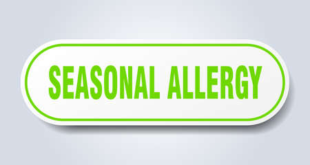 seasonal allergy sign. rounded isolated sticker. white button