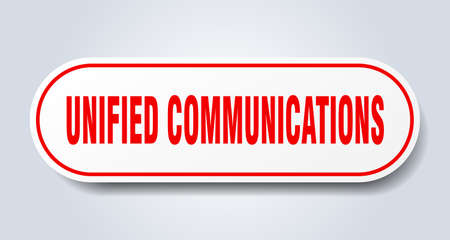 unified communications sign. rounded isolated sticker. white button Çizim