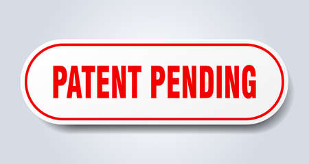 patent pending sign. rounded isolated sticker. white button