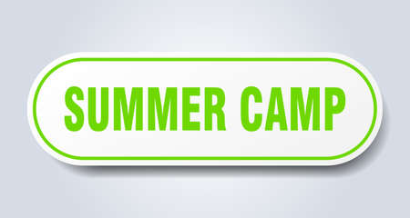 summer camp sign. rounded isolated sticker. white button