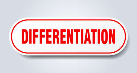 differentiation sign. rounded isolated sticker. white button