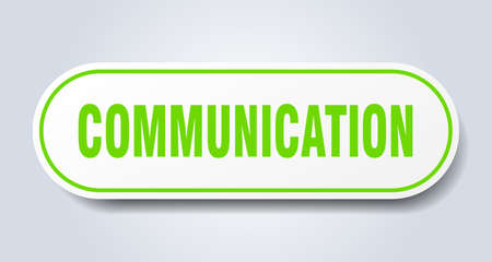 communication sign. rounded isolated sticker. white button