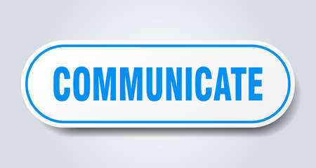 communicate sign. rounded isolated sticker. white button
