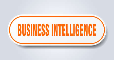 business intelligence sign. rounded isolated sticker. white button