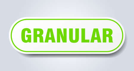 granular sign. rounded isolated sticker. white button