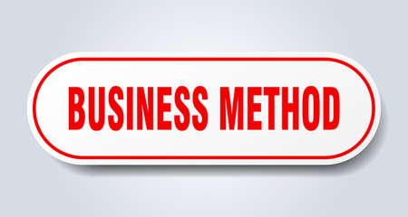 business method sign. rounded isolated sticker. white button