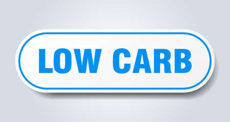 low carb sign. rounded isolated sticker. white button