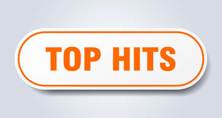 top hits sign. rounded isolated sticker. white button