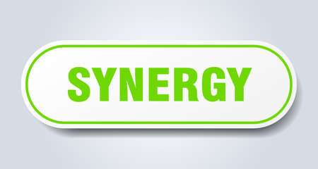 synergy sign. rounded isolated sticker. white button Vectores