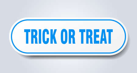 trick or treat sign. rounded isolated sticker. white button Иллюстрация