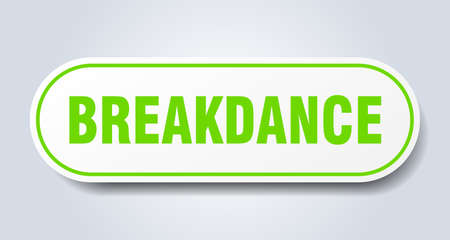 breakdance sign. rounded isolated sticker. white button Çizim