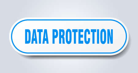 data protection sign. rounded isolated sticker. white button 向量圖像